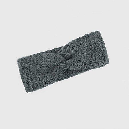 Turbante Headband Transpassado Tricot Mescla