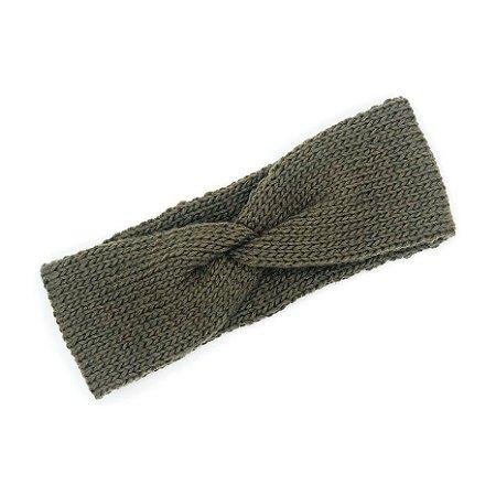 Turbante Headband Transpassado Tricot Militar