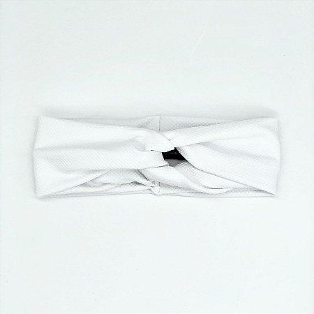 Turbante Headband Tiara Transpassado Crepe Branco Textura
