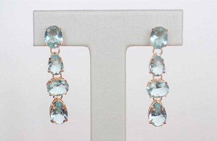 Brinco Mimme Pêndulo Cristal Aquamarine