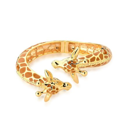 Bracelete Aberto Mimme Girafas Esmaltado Caramelo