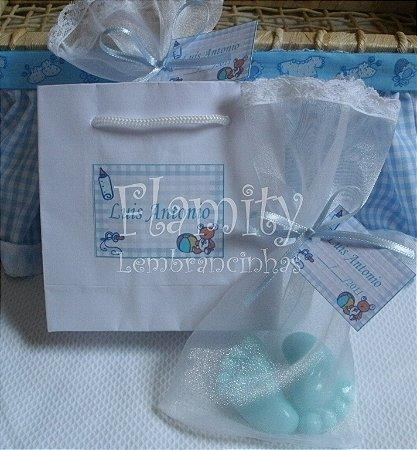 Sabonete Pezinho de Bebê Embalado em Organza com Sacola
