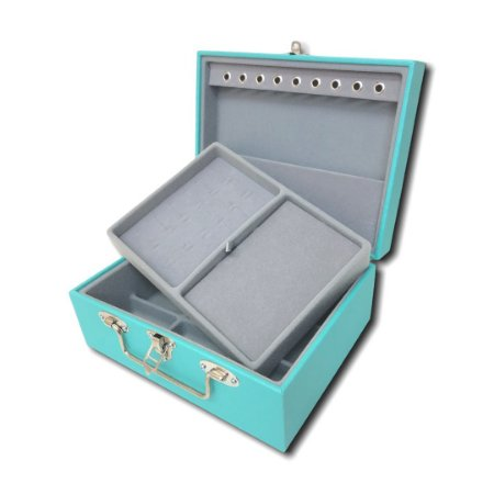 Maleta / Porta-Jóias Pequena Dupla - Tiffany / Cinza