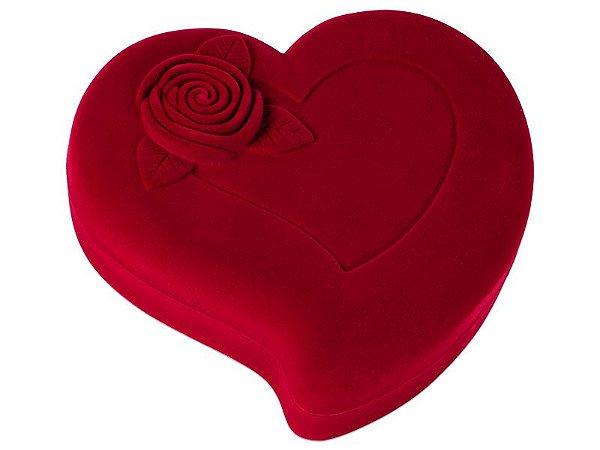 Estojo Coração c/ flor p/ Colar G Vermelho