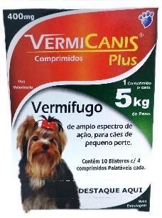 Vermifugo Vermicanis 400mg Display Com 40 Comprimidos