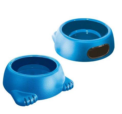 Comedouro Plast. Glamour N2 500ml Azul Furacao Pet