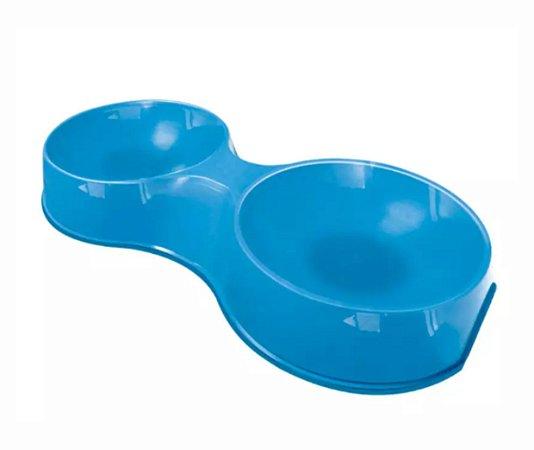 Comedouro Plast. Pop Gato Duplo 190ml Azul Claro Furacao Pet