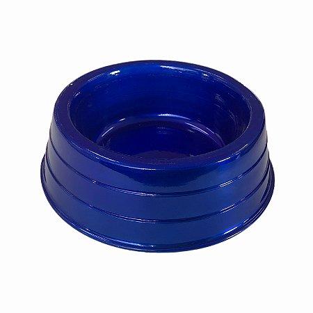 Comedouro Alumínio Pesado Azul M Dog Head