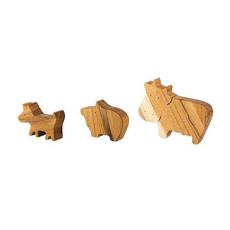 Cachorro, vaca e porco - Animais de madeira teca
