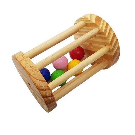 Chocalho grande de madeira com bolinhas coloridas Montessori