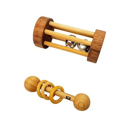Kit Montessori chocalho redondo com guizos mais chocalho de argolas - COLEÇÃO ÚNICA