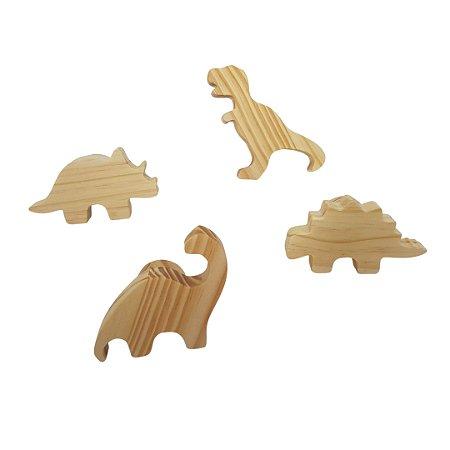 Conjunto com 4 ganchos de parede para casacos e mochilas - Dinossauro