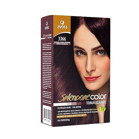 Avora Splendore Color creme tonalizante sem amonia 3366 Castanho escuro vermelho intenso framboesa