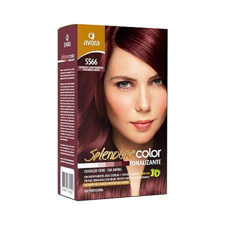 Avora Splendore Color creme tonalizante sem amonia 5566 Castanho Claro Vermelho Profundo