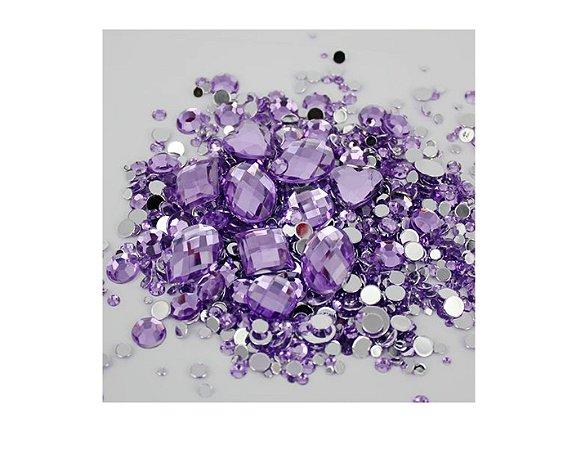 Pedra de unha Lilás Diferentes Formatos 10 peças