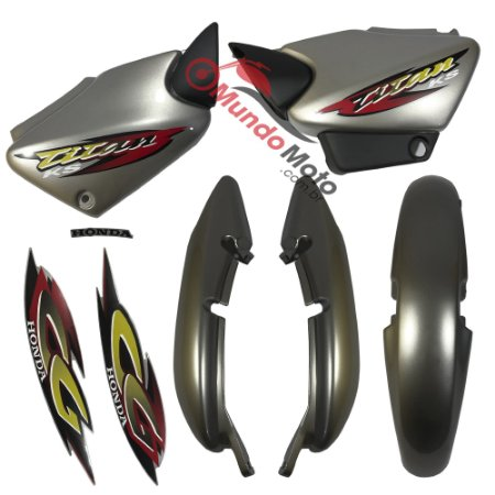 Kit Carenagem Adesivada Titan 125 KS 2001 Prata - Sportive