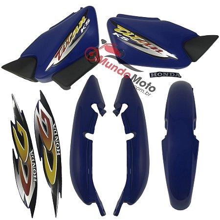 Kit Carenagem Adesivada Titan 125 KS 2001 Azul - Sportive