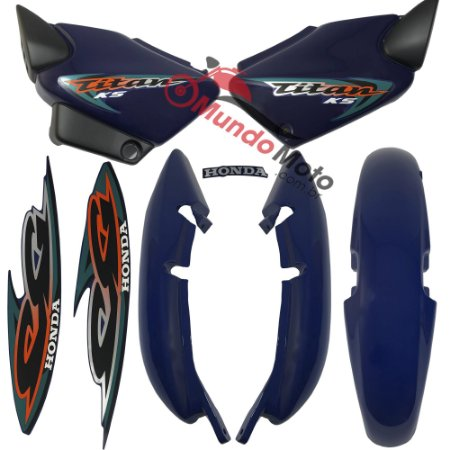 Kit Carenagem Adesivada Titan 125 KS 2000 Azul - Sportive