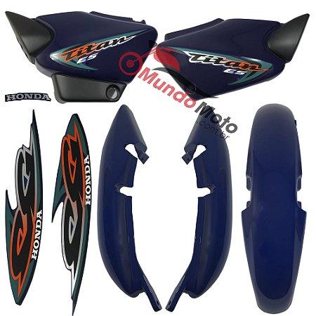 Kit Carenagem Adesivada Titan 125 ES 2000 Azul - Sportive