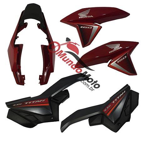 Kit Carenagem Adesivada Titan 160 Ex 2017 Vermelho Perolizado - Sportive