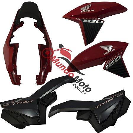 Kit Carenagem Adesivada Titan 160 Ex 2018 Vermelho Perolizado - Sportive