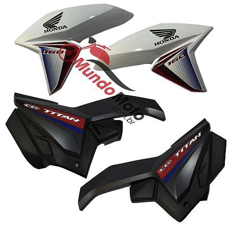 Tampa Lateral (Par) + Aba do Tanque (Par) Adesivada Honda Titan 160 Ex 2017 Branco