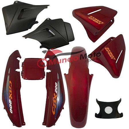 Kit Carenagem Adesivada Honda CBX 200 Strada 1997 Vermelho - Sportive