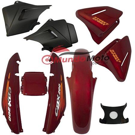 Kit Carenagem Adesivada Honda CBX 200 Strada 1996 Vermelho - Sportive