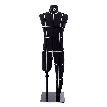 Manequim Masculino Preto - Modelo Perna Inteira com Marcação