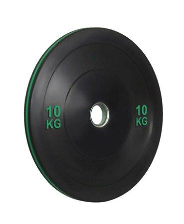 Anilha olímpica de ferro fundido Bumper Plate com anel verde 10kg 10100510