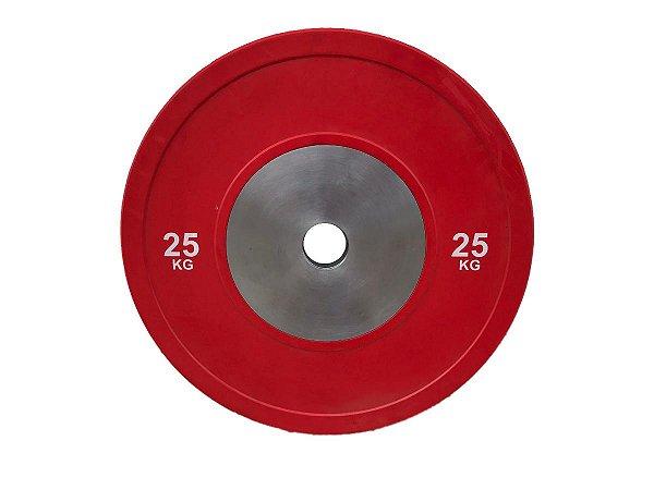Anilha olímpica de poliuretano Bumper Plate vermelha 25kg 10100425