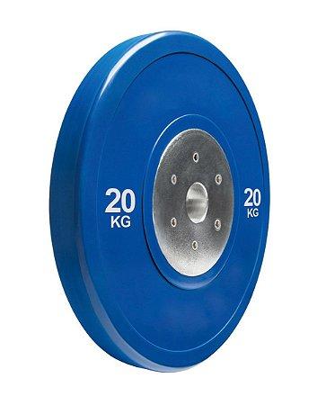 Anilha olímpica de poliuretano Bumper Plate azul 20kg 10100420