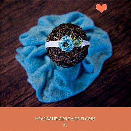 Heaband Coroa de Flores Azul