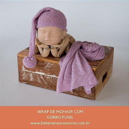 Conjunto Wrap de Mohair com Gorro Funil Lilás Queimado