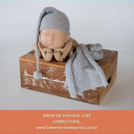 Conjunto de Wrap de mohair com Gorro Funil Cinza Claro