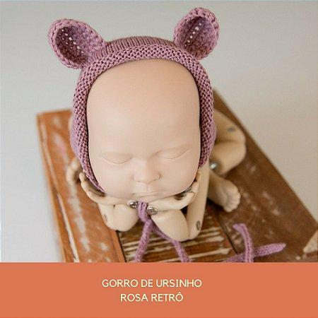 Gorro de Ursinho Rosa Retrô