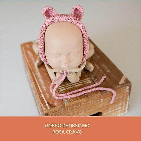 Gorro de Ursinho Rosa Cravo