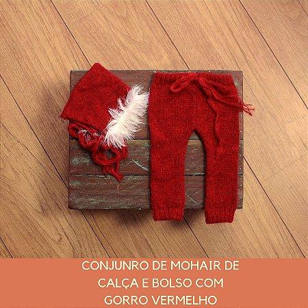 Conjunto de Mohair de Calça com Bolso e Gorro Vermelho