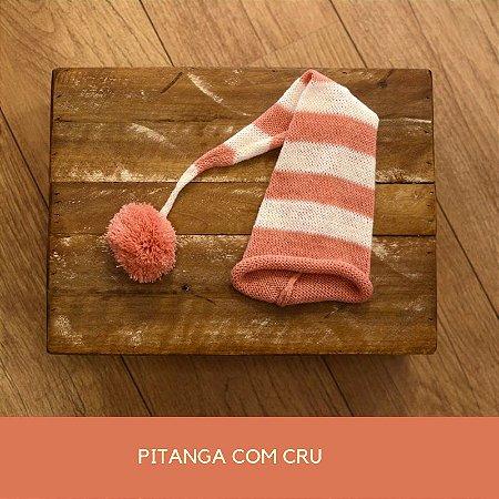 Gorro Funil de Tricot Listrado Pitanga com Cru