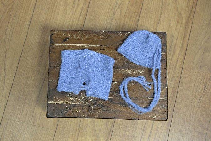 Conjunto de Mohair short e gorro Azul