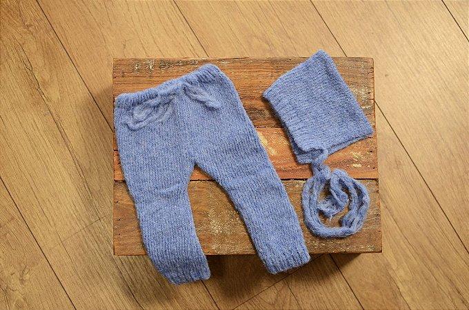 Conjunto de Mohair de Calça com Bolso e Gorro Azul