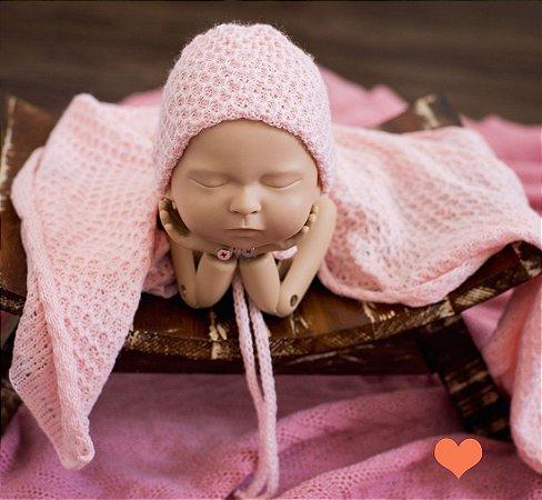 Wrap Trabalhado com gorro Rosa Bebê
