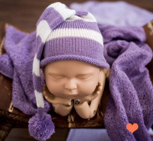 Gorro Funil listrado violeta com cru