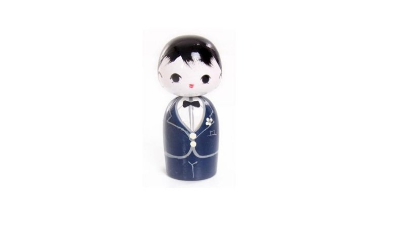 Boneco Kokeshi Azul Marinho