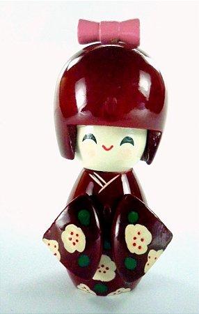 Boneca Kokeshi Pequena - Vinho Sakura