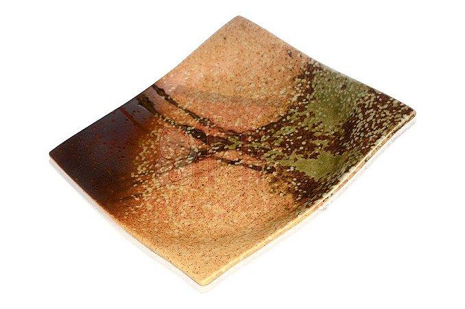 Prato Quadrado de Cerâmica - 4 Cores (Marrom)