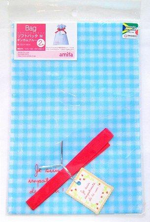 Saco de Papel para Presente - Azul (Gingamu Blue) - com 2 unidades