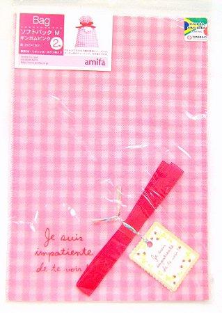 Saco de Papel para Presente - Rosa (Gingamu Pink) - com 2 unidades
