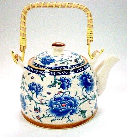Chaleira de Porcelana Flor Azul 0,5 litro