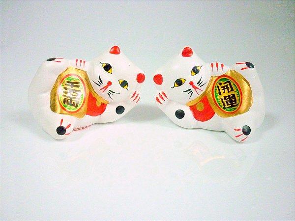 Casal de Gato da Sorte (Maneki Neko) 4,5 cm (C33)